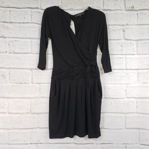 BCBGMAXAZRIA 3/4 sleeve rouched black dress